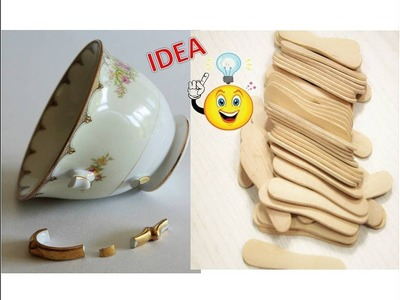 Best out of Waste Craft Idea | Broken Tea cup Craft Idea | Reuse Ice cream spoon  | DIY Candle Stand