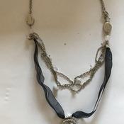 Black Rİbbon Metal Necklace