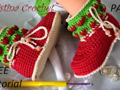 Crochet baby shoes with strawberries Part 2 TUTORIAL WITH PATTERN  Heklane čizmice za bebe 2. deo