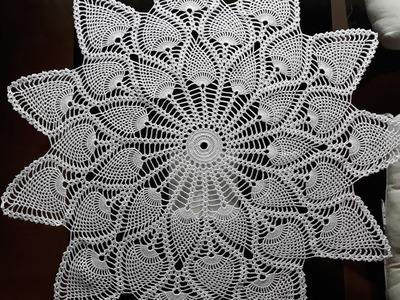 Crochet Pineapple table topper   pineapple doily - part 2.3