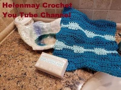 Crochet Waves Tawashi or Kitchen Hot Pad diy video tutorial