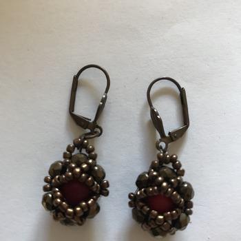 Dark Red Bronze Beads Earrings
