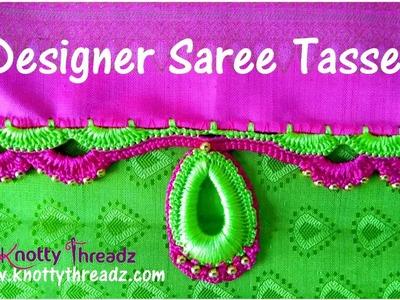 Designer Crochet Tassels Using Tear Drop Base | Saree Kuchu Tutorial | www.knottythreadz.com
