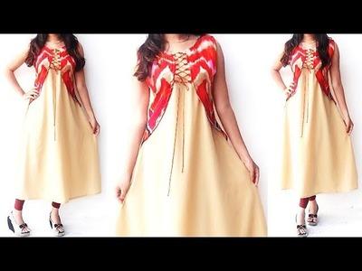 DIY Designer Attached Koti Kurti Cutting And Stitching Tutorial