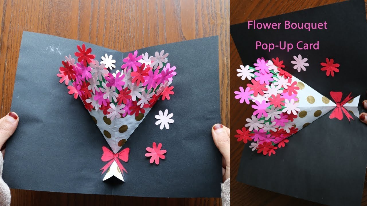 Diy flower bouquet pop up card paper crafts handmade craft izmirmasajfo