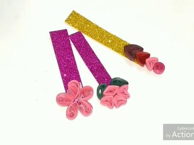 DIY Glitter Flower Bookmark Craft (easy quilling technique)