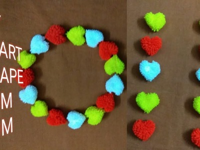 Diy – How To Make Heart Shape Pom-Pom || Woollen Flower || Hand Made Pom-Pom.