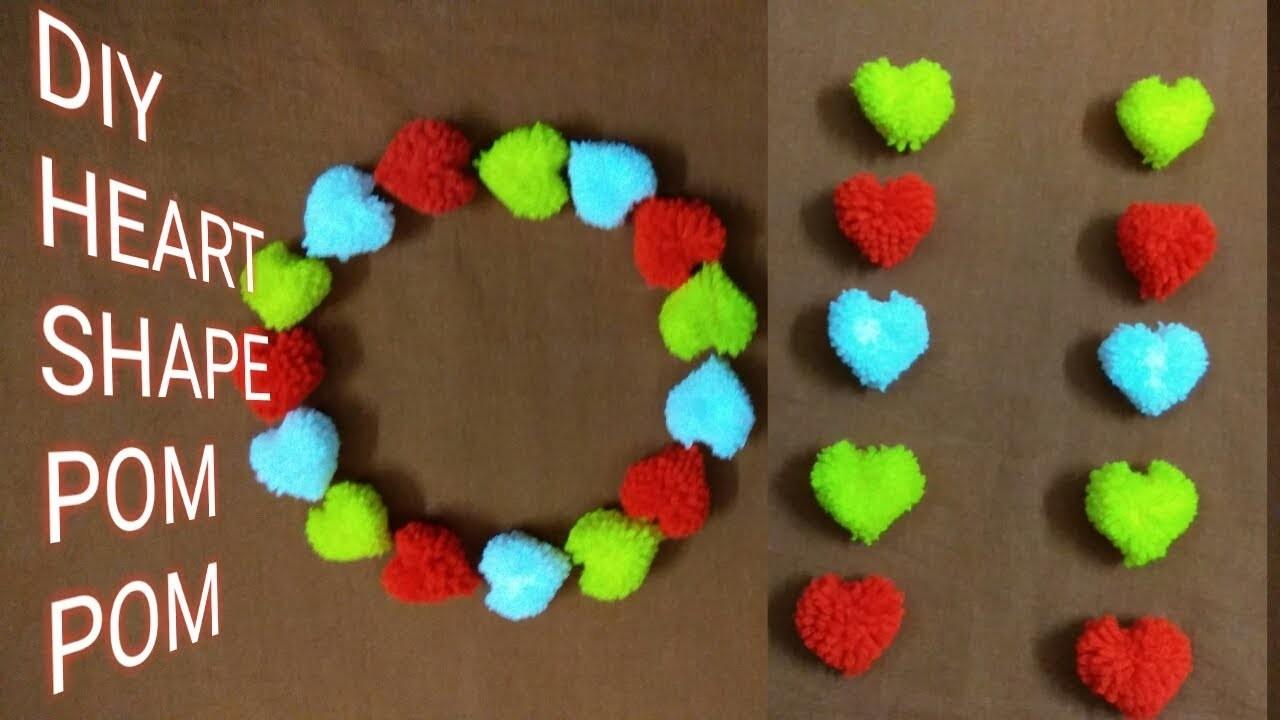 Diy – How To Make Heart Shape Pom-Pom || Woollen Flower || Hand Made Pom-Pom.