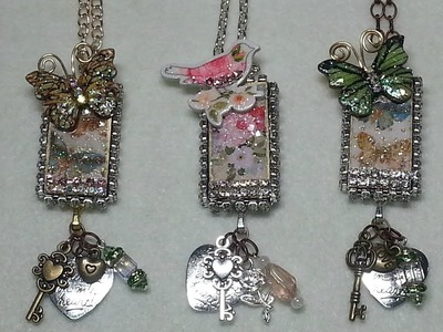 DIY~Make Gorgeous  & Simple Mixed Media Domino Pendant Necklaces!
