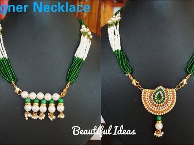 DIY.Pearl Designer Necklace.Making Pearl Designer Pendent.Paper Jewellery.Beautiful Ideas.tutorials