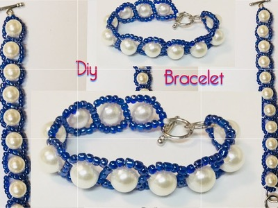 Diy pearls bracelet. Simple beaded bracelet.