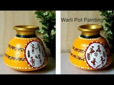 DIY warli painting on Pot|How to decorate pot with warli art | #warliart | colours Creativity Space