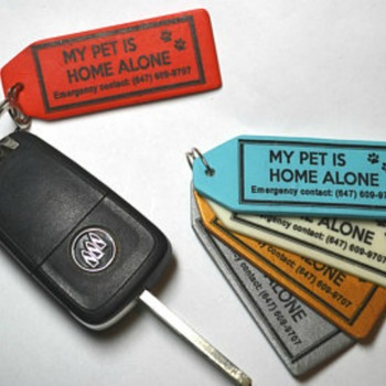 Emergency Alert Key Tag for Pets At Home ~~ Let first responders know your pet is alone at home.