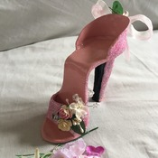 Hand crafted high heel shoe cake topper