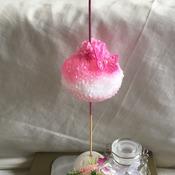 Hand crafted pom pom cupcake cake topper