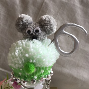 Hand crafted pom pom cupcake teddy cake topper