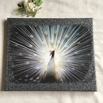 Hand Crafted white peacock canvas wall art