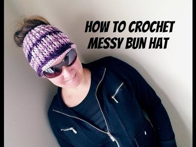 How to crochet messy bun hat
