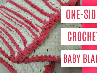 HOW TO CROCHET ONE SIDED STRIPED BABY BLANKET