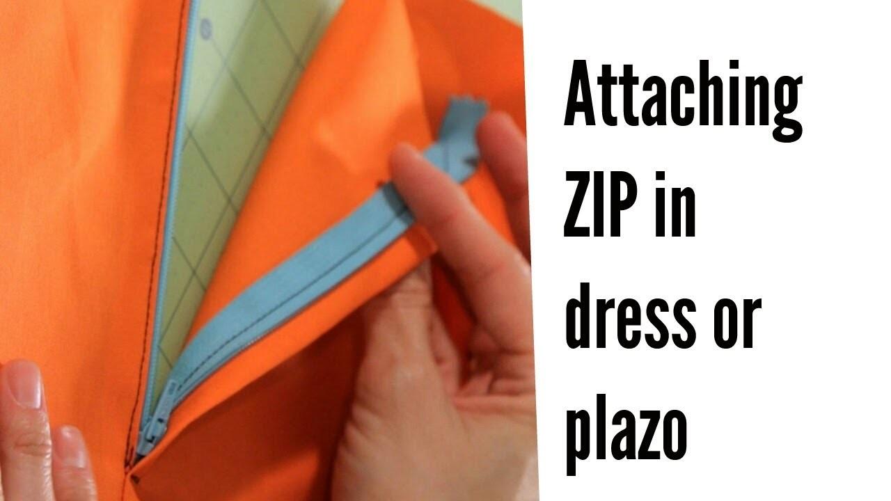How to insert zip in pants plazo or skirt. पलाज़ो पेंट में ज़िप लगाने का सबसे आसान तरीका