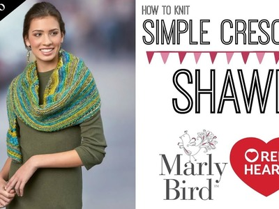 How to Knit Simple Crescent Shawl [Part 2] Two Yarn Over Eyelet Row