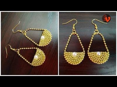 How To Make Designer Earrings. How To Make Handmade Earrings. Jewellery Making at home.DIY