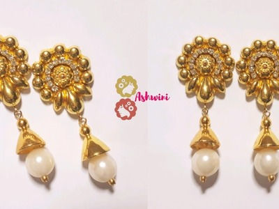 How To Make Designer Pearl Drop Earrings At Home. DIY. jewelry making. uppunutiashwini