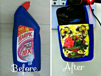 How To Make Mobile Phone Charger With Harpic Bottle(doucopage )|Best out of Waste