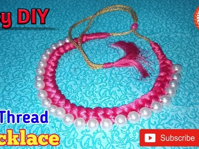 How To Make Silk Thread Necklace|Pearl Necklace At Home|Experts Of Creativity