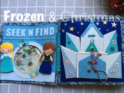 Kid learning with FROZEN Quiet book (Fine motor skill)