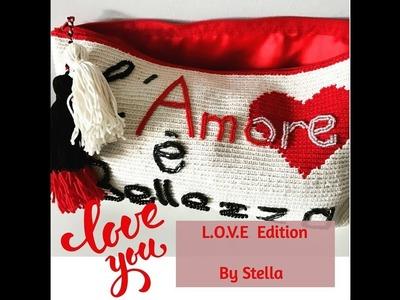 L.O.V.E Special Edition bag  | clutch using crochet tapestry technique . Borsa al unccineto