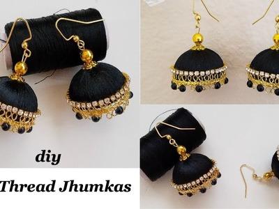 Making Silk Thread Jhumkas||How to make silk thread designer jhumkas||Silk Thread Earrings|