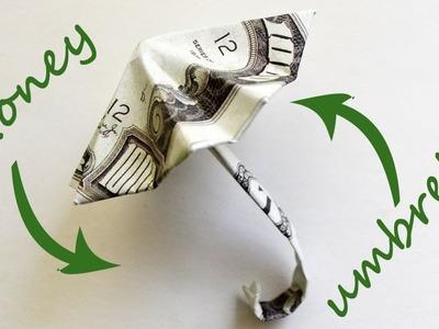 Money UMBRELLA Origami 2 Dollar bills Tutorial DIY Folded No glue and tape