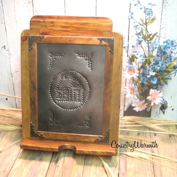 Mothers day gift, Wood iPad stand, Cookbook Holder, Punched Tin, Rustic iPad stand, Tablet Holder, Country Kitchen Decor, Home Decor