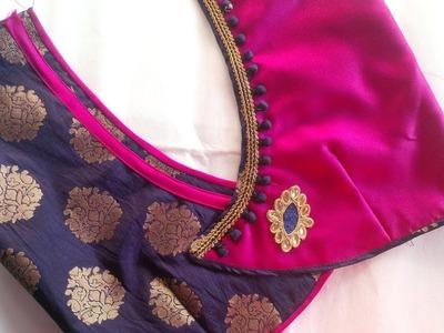 New diffrent model blouse design cutting stitching 2018