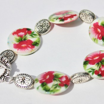 Pink Flower Bracelet with Flower Accent Beads