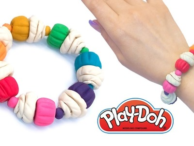 Play Doh Surprise Crafts. DIY How to Make Playdoh Clay Bracelet with Mini Rainbow Ice Creams