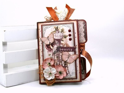 Wallet Fold Mini Album Charmed  BoBunny Polly's Paper Studio Tutorial Handmade DIY Scrapbook Recycle