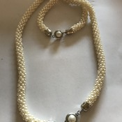 White Bead Necklace and bracelet