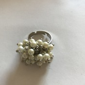 White Beads Adjustable Ring