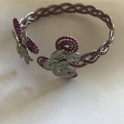 Wire Wrapped Bracelet Pink Silver