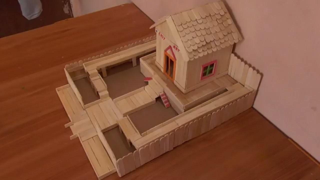 A BEAUTIFUL POPSICLE STICK HOUSE || DIY - ICE CREAM STICK