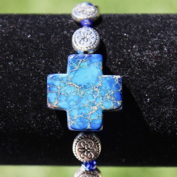 Authentic Lapis Cross Bracelet