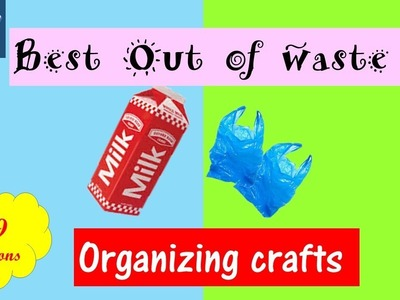 DIY | Best Out of Waste Organizing crafts | how to make plastic bag dispenser | carton crafts