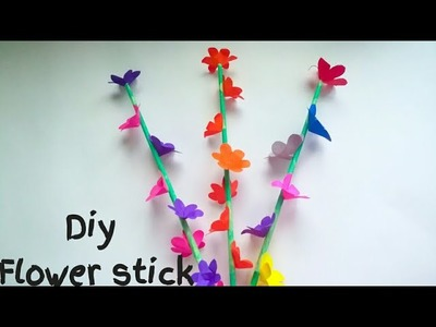 Diy flower stick. How to make paper flower stick easy method.Diy room decoration ideas.KovaiCraft