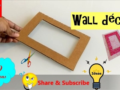 DIY | How to make a photoframe from cardboard | wall decor idea | best out of waste room decor ideas