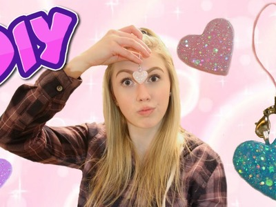 DIY Pins and Keychains! + GIVEAWAY!! Resin Glitter Hearts. Decorate Your Backpack, Purse, etc.