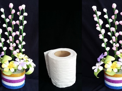 DIY: Tissue Paper Crafts!! How to Make Beautiful Flower Stick with Toilet Paper for Home  Decoration