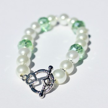 Glass Pearl and Green Czech Bead Bracelet