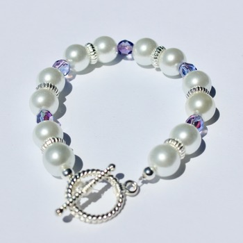 Glass Pearl and Purple Iridescent Czech Bead Bracelet